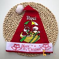 Mũ nón Giáng Sinh Noel trẻ em họa tiết ông già noel vải nỉ cho bé