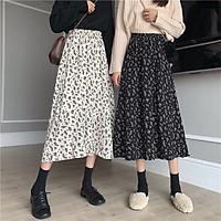 Chân váy hoa vintage mẫu mới 2021 - Chân váy hoa dáng dài