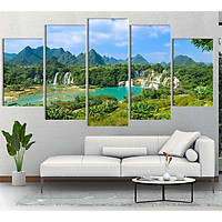 Bộ 5 tranh canvas treo tường phong cảnh thác Bản Giốc - B5T015