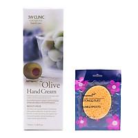 Kem dưỡng da tay Olive Hàn Quốc cao cấp 3W Clinic Olive Hand Cream (100ml) + Tặng Bông bọt biển massage mặt Hàn Quốc Aroma – Hàng Chính Hãng
