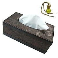 Hộp đựng khăn giấy bằng da PU họa tiết cổ điển - Tặng 1 tinh dầu Sả treo dây
