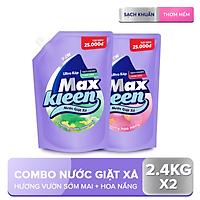 Combo 2 Túi Nước Giặt Xả Maxkleen: 1 Hương Vườn Sớm Mai (2.4kg) + 1 Hương Hoa Nắng (2.4kg)