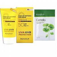 Combo Kem chống nắng kiểm soát dầu DAILY UV DEFENSE SUN CREAM và Mặt nạ tái tạo phục hồi Beauskin Centella Cica