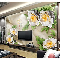Tranh dán tường Hoa 3D trang trí phòng ngủ và phòng khách - vải lụa phủ kim sa