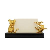 Giá đỡ danh thiếp hình Chuột mạ vàng - Quà tặng cao cấp Tết 2020