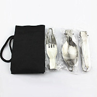 Outdoor Stainless Steel Folding Tableware Portable Folding Knife Fork Spoon
