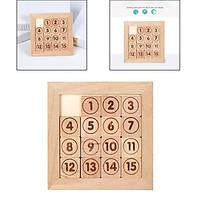 Kids Sliding Block Klotski Brain Teaser Wooden Puzzle Gift Sliding Puzzle Style1