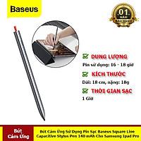 Bút Cảm Ứng Square Line Capacitive Stylus Pen (Anti Misoperation) Sử Dụng Pin Sạc 140mah Cho Samsung Ipad Pro - Hàng Chính Hãng Baseus