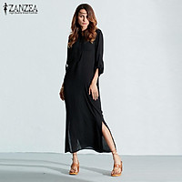 ZANZEA Plus Size Fashion Long Sleeve Vestidos Spring Autumn Women Split Sexy Casual Dress O Neck Linen Solid Long Maxi Dress