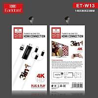 [Hàng Chính Hãng] Cáp HDMI 3in1 Earldom ET-W13 -  Độ Phân Giải 4K, Tích Hợp 3 Đầu Lightning, Micro, TypeC