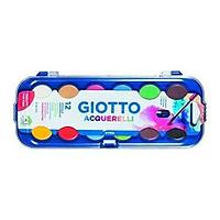 Combo màu nước Giotto Colour Blocks Acquarelli. Hộp 12 viên màu nước (Ý) ( SL=1 vỉ) và Vỉ 3 chổi vẽ GIOTTO 400 số 3,4,5 (SL=1 vỉ)