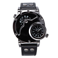 Oulm Watch Two Time Zone Man Quartz Watches Brand Luxury Leather Strap Sport Wristwatch With Two Movement Male Clock
