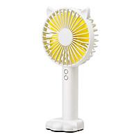 Quạt mini cầm tay tiện dụng handy fan 3 tốc độ gió tai mèo cao cấp có đèn, giá đỡ điện thoại