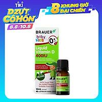 Vitamin D 400IU dạng nước Brauer Baby & Kids Liquid Vitamin D 400IU cho trẻ sơ sinh và trẻ nhỏ (10 ml)