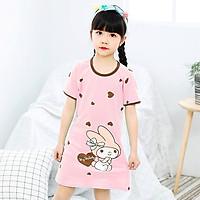 Đầm ngủ bé gái cotton mát mẻ hình thỏ cute cho bé 4-10 tuổi – DN001