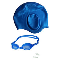 Combo nón bơi mũ bơi che tai CQ + Kính bơi Phonex 207 kèm bịt tai (Giao màu ngẫu nhiên)