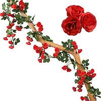 Dây leo hoa hồng 69 bông lụa nhựa dài 1.8 m  trang trí đẹp sang trọng