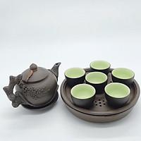 Bộ ấm chén / bộ bình trà gốm cội nguồn đắp nổi (dáng 2 khay)