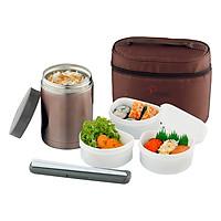 Hộp Giữ Nhiệt La Gourmet Sakura (580ml) + 3 Hộp Nhựa (Có Túi Đựng)