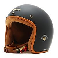Mũ Bảo Hiểm 3/4 Bulldog Heli Fiberglass Solid Black Mat