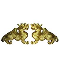 Cặp Tỳ Hưu phong thủy đá poly vàng cặp hai con đực cái size lớn - CKHV30