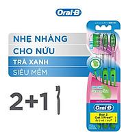 Bàn Chải OralB Tinh Chất Trà Xanh Vỉ 3 cây (Mua 2 tặng 1)