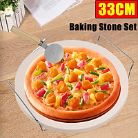 Pizza Baking Stone Set 33CM High Temperature Resistant Chrome Stand With Cutter Stone Suitable For Baking Breads Pizzas Biscuits