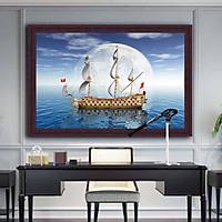 Tranh canvas phong thủy treo tường - Thuận buồm xuôi gió - TBXG012 - Khung màu nâu trầm bóng - 120x80cm