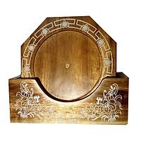 Bộ lót ly hình Bát giác bằng gỗ tự nhiên, hàng thủ công cao cấp và khắc Hoa văn đẹp sang trọng