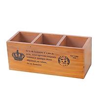 Hộp gỗ đựng đồ 3 ngăn Vintage