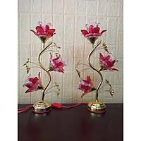 Đèn thờ bóng led hoa thuỷ tinh ( dành thờ bàn thờ đứng hoặc bàn thờ treo) - Sâu 14x Ngang 24 x Cao 45
