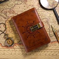Vintage Brown B6 Rudder Leather Journal Diary Notebook With Combination Lock