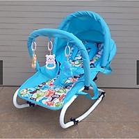 Ghế ăn bột bập bênh kiêm giường nằm có đồ chơi dạng kệ chữ A cho bé- màu cho bé trai