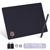 Professional Graphics Drawing Tablet Writing Board with Controller Knob 8192 Levels Battery-Free Stylus/30pcs Nibs/Pen