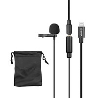 BOYA Cardioid Lavalier Lapel Clip-on Microphone Detachable Single Head with 3.5mm TRS to Lightning Cable Compatible with