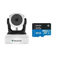 Combo Camera IP Wifi VStarcam C24s 2.0 - Full HD 1080p không dây , Kèm thẻ nhớ 32GB A1 Lexar  - Hàng chính hãng