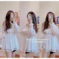 Váy trắng công chúa,Váy trễ vai bèo bồng bềnh đủ màu chất von hai lớp dày dặn,Đầm dự tiệc kiểu dáng thiết kế tiểu thư