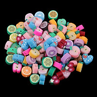 100x   Mixed   Handmade   Polymer   Clay   Fruits   Flat   Spacer   Bead   Jewelry   Charms   10mm