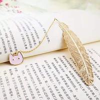 Bookmark Kim Loại Đánh Dấu Sách Hình Lông Vũ Dây Treo - Mèo Hồng
