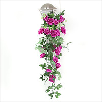Chùm hoa hồng giả treo tường trang trí kèm giỏ mây (tặng 02 móc dán tường 3D)