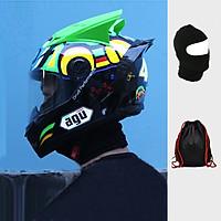 Mũ bảo hiểm AGU tem Rùa gắn Đuôi gió + Sừng tặng túi đựng và khăn ninja