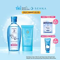 Bộ sản phẩm Kem chống nắng dạng tinh chất Senka Perfect UV Essence 50g và Nước tẩy trang sạch thoáng, dưỡng trắng Micellar Formula White 230ml