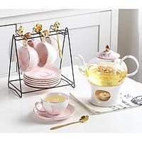 Bộ ấm trà vân đá sang trọng , cao cấp | Gồm 6 cốc trà 1 ấm trà 6 thìa vàng