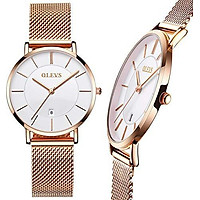 Ladies Steel Watch,OLEVS Watches for Women,Waterproof Mesh Strap Watch Women,Slim Casual Women Watches with Date Display,Female Ultra Thin Watches,Women's Fashion Watch Promotion,Female Watch on Sale