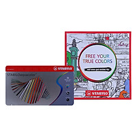 Bút Chì Màu Nước Stabilo Aquacolor (36 Cây/Hộp Sắt) + Sách Tô Màu Stabilo Free Your True Colors
