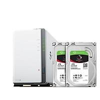 Combo thiết bị lưu trữ NAS Synology DS218J và 2x4TB HDD Seagate Irownolf (Hàng chính hãng)