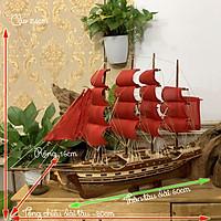 Mô hình thuyền gỗ thuyền trang trí phong thủy tàu chở hàng France II_Pháp - Thân tàu dài 60cm - Gỗ Tự Nhiên