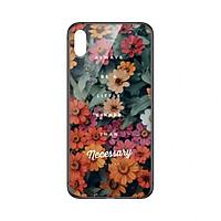 Ốp lưng KÍNH CƯỜNG LỰC VIỀN ĐEN cho iPhone X HOA CÚC NHỎ - Hàng chính hãng