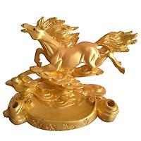 Tượng ngựa vàng bay bằng đá poly - NDV17