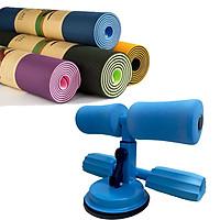 Combo 01 Dụng cụ tập bụng, eo đa năng đế hút chân không + Thảm Yoga TPE cao cấp 6mm (giao màu ngẫu nhiên)